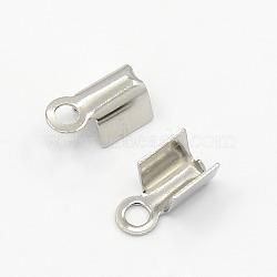 304 из нержавеющей стали раз за обжима концы шнура, нержавеющая сталь цвет, 9x4x3.5 мм; отверстие: 1 мм; 3x5 мм внутренний диаметр(X-STAS-M009-01B)