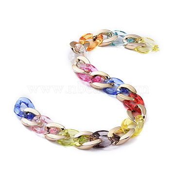 Handmade CCB Plastic Curb Chains, with Acrylic Linking Rings, Golden, Colorful, Links: 23x16.5x4.5mm and 22.5x15.8x4.8mm, 39.37 inches(1m)/strand(X-AJEW-JB00650)