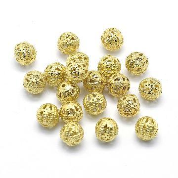Brass Filigree Beads, Filigree Ball, Lead Free & Cadmium Free & Nickel Free, Round, Raw(Unplated), 6mm, Hole: 1mm(KK-A143-07C-RS)