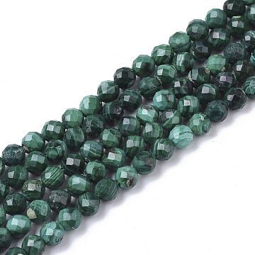 Natural Malachite Beads Strands, Faceted, Round, 4mm, Hole: 0.5mm, about 85~86pcs/strand, 15.75 inches(40cm)(X-G-S361-4mm-001)