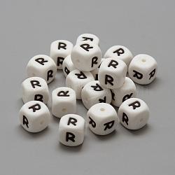 экологические силиконовые бусины, жевательные бусины для чайников, DIY уход за ожерельем, стиль письма, куб, letter.r, 12x12x12 mm, отверстия: 2 mm(X-SIL-R001-R)