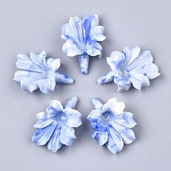 Perles de corail synthétiques, teint, fleur, bleu royal, 31~32x23~24x9~10mm, Trou: 1mm(X-CORA-S026-23C)
