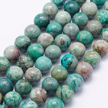 Natural Chrysocolla Beads Strands, Round, 10mm, Hole: 1mm; about 39pcs/strand, 15.3 inches(39cm)(G-J369-02-10mm)
