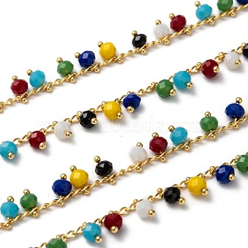 Handmade Glass Beaded Chains, Soldered, with Brass Findings, Colorful, 7x4mm(X-AJEW-P061-A03)