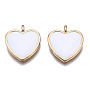 Alloy Pendants, with Enamel, Cadmium Free & Lead Free, Light Gold, Heart, White, 17.5x16x2mm, Hole: 1.8mm