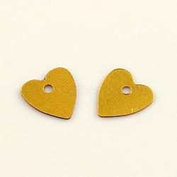 Accessoires ornement de perles de paillette de coeur en plastique, perles de paillettes, verge d'or, 8x7x0.2mm, Trou: 1mm(X-PVC-Q032-7mm-A1)
