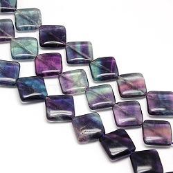 """Losange naturelle perles de fluorite brins, 18x18x6mm, trou: 1mm; environ 22 pcs/chapelet, 15.74""""(G-L254-08)"""