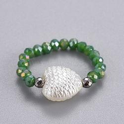 гальваническое стекло натяжные кольца, с синтетическим гематитом и непрозрачной пластиковой имитацией жемчуга, сердце, Seagreen, размер 8; 18 мм(RJEW-JR00247-04)