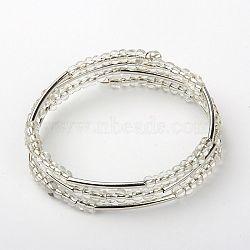 Perles en verre de graine bracelets d'enveloppe triple, avec des perles de tuyauterie en cuivre et fil mémoire en acier, clair, 53mm(BJEW-JB01206-01)