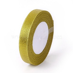 Organza Ribbon, Glitter Metallic Ribbon, Sparkle Ribbon, Gold, about 5/8 inch(15mm) wide, 25yards/roll(22.86m/roll)(X-ORIB-15mm-Y-G)