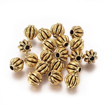 Tibetan Style Spacer Beads, Lead Free, Melon, Antique Golden, 8x8x5mm, Hole: 2mm(X-TIBEB-Q007-AG-LF)