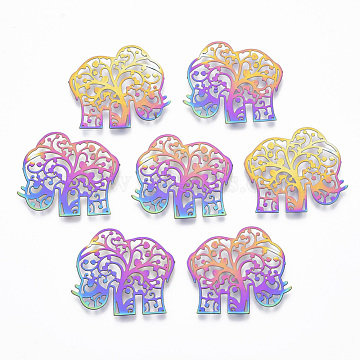 Vacuum Plating 201 Stainless Steel Joiners Links, Etched Metal Embellishments, Elephant, Rainbow, Multi-color, 22x25.5x0.4mm(X-STAS-T057-03)