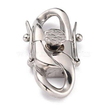 304 Stainless Steel Clasps, Stainless Steel Color, 30x17x8.5mm, Hole: 5x5mm(STAS-P273-01B-P)