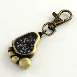 accessoires de porte-clés rétro montre à pied en alliage pour porte-clés, avec mousquetons de fer, Retour avec des mots aléatoires, noir, 85 mm; pied: 43x28x8 mm, regarder le visage: 27x20 mm(WACH-R009-078AB)