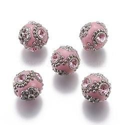 Perles Indonésiennes manuelles, avec ame en laiton, rond, rose, 18~20mm, Trou: 2mm(CLAY-G001-5)