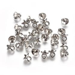 Ccb tasse en plastique perle peg bails broches pendentifs, pour la moitié de perles percées, platine, 6.5x6mm, trou: 2 mm; broches: 1.4 mm(CCB-L013-02A-P)