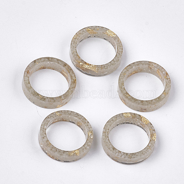 Epoxy Resin Rings, with Gold Foil, Luminous/Glow in the Dark, DarkKhaki, Size 6, 16mm(RJEW-T007-01A-02)