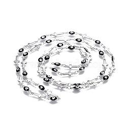 304 chaînes en acier inoxydable émaillé, soudé, mauvais oeil croisé et ovale, couleur inoxydable, noir, 13.5x5x1mm(CHS-P006-03P-02)