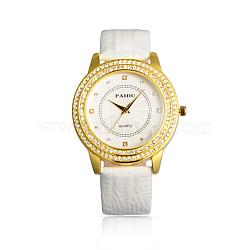 V день подарков высококачественной нержавеющей стали кожаные бриллиантами кварцевые часы, белые, 245x18~20 мм; голова часы: 42x49x12 мм; лицо часов: 31x31 мм(WACH-N003-06)