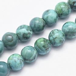 """Chapelets de perles en turquoise africaine naturelle, rond, teints et chauffée, darkcyan, 6mm, trou: 1mm; environ 62 pcs/chapelet, 15.7"""" (40 cm)(X-G-K211-6mm-A)"""
