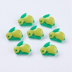 Boutons en acrylique, 1-trou, teint, lapin, greenyellow, 17x13x4mm, Trou: 4x2mm(X-BUTT-E003-06)