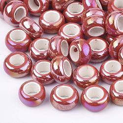 Perles de porcelaine plaquées, Perles avec un grand trou   , de couleur plaquée ab , rondelle, rouge, 12~13x6.5mm, Trou: 6mm(PORC-T003-01-06)