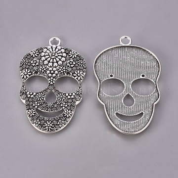 Day of the Dead Ornaments Sugar Skull Tibetan Style Alloy Big Pendants, For Mexico Holiday Day of the Dead, Cadmium Free & Nickel Free & Lead Free, Halloween, Antique Silver, 67x42x4mm, Hole: 4.5mm(X-TIBEP-AD60364-AS-FF)