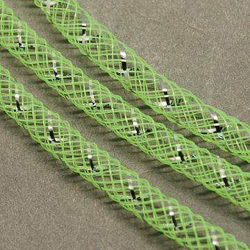 Mesh Tubing, Plastic Net Thread Cord, with Silver Vein, GreenYellow, 8mm, 30 yards/Bundle(PNT-Q001-8mm-21)