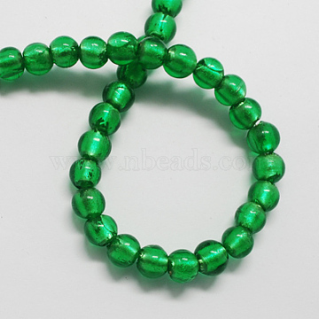 Handmade Silver Foil Glass Beads, Round, Green, 12mm, Hole: 2mm(X-FOIL-R054-12mm-14)