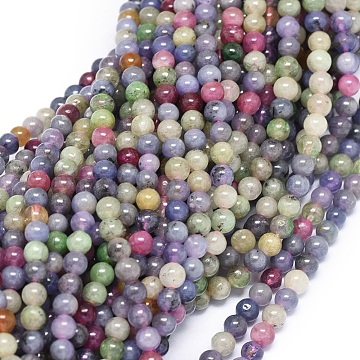 Natural Tanzanite Stone & Tourmaline Beads Strands, Round, 4mm, Hole: 0.8mm; about 100pcs/strand, 15.9inches(40.5cm)(G-O180-10-4mm)