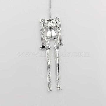 Tibetan Style Alloy Human Body Skeleton For DIY Toy Doll Making, Cadmium Free & Nickel Free & Lead Free, Antique Silver, 44x12x4mm; Pin: 47x0.8mm(X-TIBE-39548-AS-NR)
