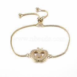 bracelets réglables en laiton à micro-pavé de zircons cubiques, bracelets de slider, apple, or, 10-1 / 4 (260 mm); 1.2 mm(BJEW-E321-02G)