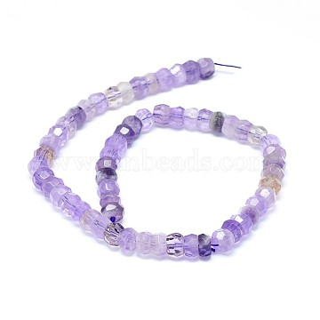 Natural Amethyst Beads Strands, Faceted, Rondelle, 8x5~8mm, Hole: 0.8mm; about 64~80pcs/strand, 15.7 inches(40cm)(G-F632-13B-01)