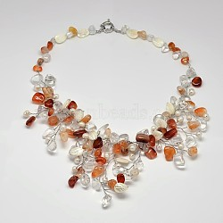 Natural Gemstone Bib Statement Necklaces, with Pearl, Shell and Brass Spring Ring Clasps, Colorful, 19.6inches(NJEW-P102-41)