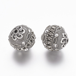 Perles rondes d'indonésie de grade A avec strass manuelles, avec alliage d'argent antique carottes de couleur métallique, darkgray, 20mm, Trou: 2mm(X-IPDL-S031-06)