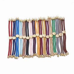 """Création de bracelets à cordon torsadé en nylon, fabrication de bracelet de curseur, avec les accessoires en laiton, or, couleur mixte, 8.7""""~9.3"""" (22.2cm ~ 23.8cm); 3mm, Trou: 1.5mm(MAK-T003-G)"""