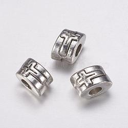 Perles européennes en alliage, couleur argent antique, Tube, environ 7 mm de large, Longueur 11mm, épaisseur de 9mm, Trou: 4mm(X-E465-S)