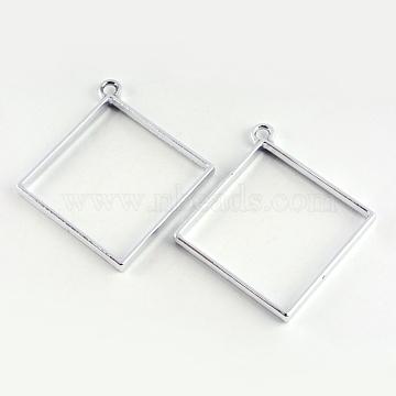 Rack Plating Alloy Rhombus Open Back Bezel Pendants, For DIY UV Resin, Epoxy Resin, Pressed Flower Jewelry, Cadmium Free & Nickel Free & Lead Free, Platinum, 48x44x3.5mm, Hole: 4mm(X-PALLOY-S047-22D-FF)