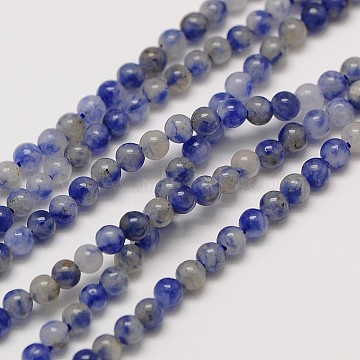 Natural Gemstone Blue Spot Jasper Round Beads Strands, 3mm, Hole: 0.8mm; about 126pcs/strand, 16inches(G-A130-3mm-21)