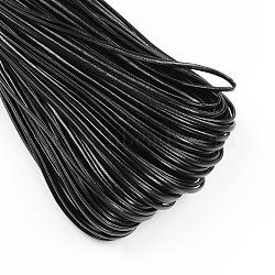 Cordon en cuir PU, Cordon d'imitation cuir, plat, noir, 2x1 mm; environ 95 m / bundle(LC-S003-2mm-08)
