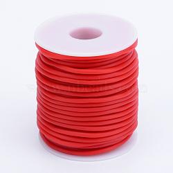 Tuyau creux corde en caoutchouc synthétique tubulaire pvc, enroulé aurond de plastique blanc bobine, rouge, 3mm, trou: 1.5 mm; environ 25 m / rouleau(RCOR-R007-3mm-14)