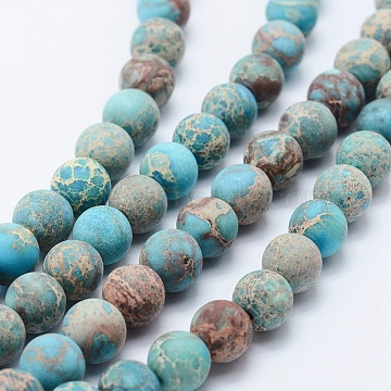 Natural Imperial Jasper Beads Strands, Dyed, Frosted, Round, Turquoise, 8mm, Hole: 1mm, about 51pcs/strand, 15.3 inches(39cm)(X-G-K232-8mm-01D)