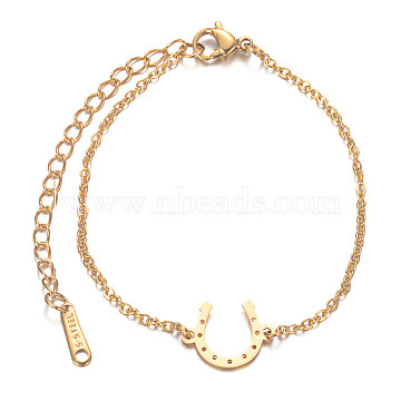 201 Stainless Steel Link Bracelets, with Cable Chains and Lobster Claw Clasps, Horse Shoes, Golden, 6-7/8 inches(17.3cm); 1.5mm(STAS-T040-JN016-2)