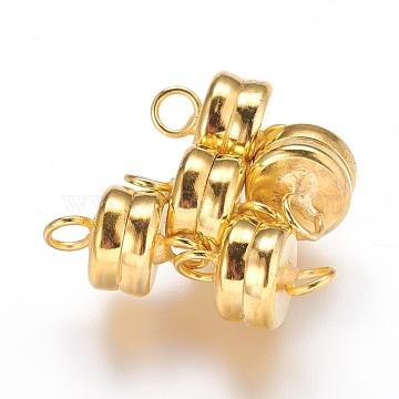 Brass Magnetic Clasps, Flat Round, Golden, 11x7mm, Hole: 2mm(X-KK-P114-07G)