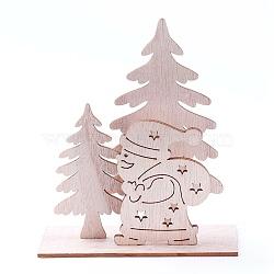 décorations pour la maison en bois non teint, arbre de noël avec le père noël, burlywood, 115x42.5x132 mm; 4 PCs / ensemble(DJEW-F006-03)