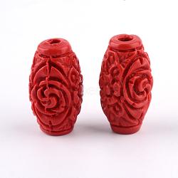 Carved Cinnabar Beads, Barrel, FireBrick, 17.5x9.5x9.5mm, Hole: 2.5mm(X-CARL-Q004-76B)