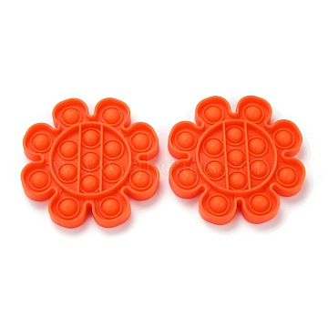 Silicone Push Pop Bubble Fidget Sensory Toy, Bubble Popper Fidget Toy, Stress Anxiety Relief Toys, Flower, Orange Red, 126x15mm(DIY-J004-D04)