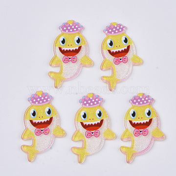 PVC Plastic Cabochons, with Glitter Powder, Fish, Yellow, 34x20.5x2mm(KY-R016-19)