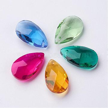 Glass Pendants, Crystal Suncatcher, Faceted, Teardrop, Mixed Color, Size: about 13mm wide, 22mm long, 8mm thick, hole: 0.8mm(X-GLAA-22X13)