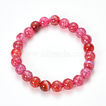 Natural Dragon Veins Agate Beaded Stretch Bracelets, Dyed, Round, Crimson, 2-1/8 inches(55mm) (X-BJEW-Q692-02B)